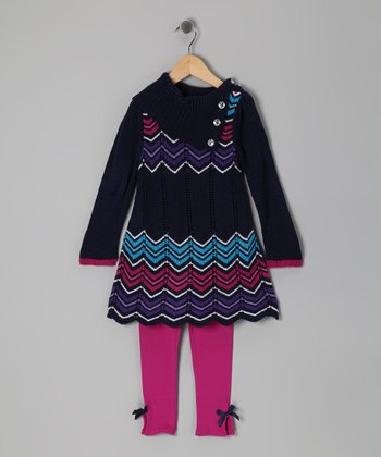 Navy Zigzag Tunic & Leggings - Infant, Toddler & Girls