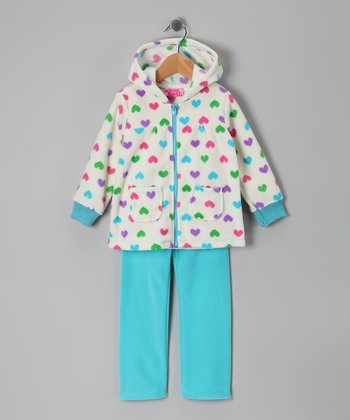 Blue Heart Fleece Zip-Up Hoodie & Pants - Infant & Girls