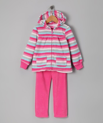 Pink Stripe Zip-Up Hoodie & Pants - Infant