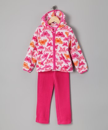 Pink Butterfly Zip-Up Hoodie & Pants - Infant & Girls
