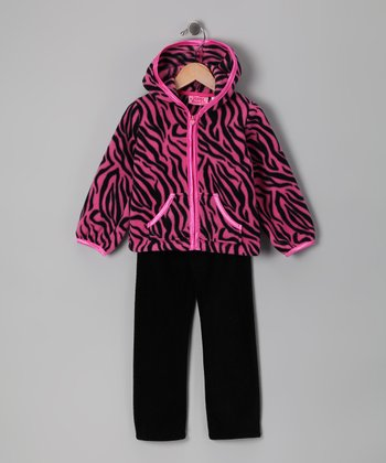 Pink Zebra Fleece Zip-Up Hoodie & Pants - Infant