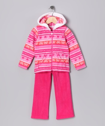 Dark Pink Zip-Up Hoodie & Pants - Girls