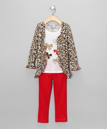 Brown & Red Cheetah Bow Cardigan Set - Infant & Toddler