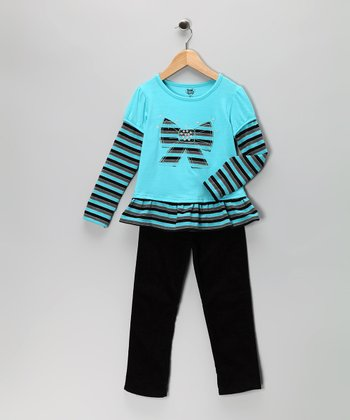 Blue Bow Tunic & Black Corduroy Pants - Girls