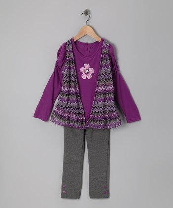 Dark Purple Zigzag Faux Vest Top & Leggings - Infant & Toddler