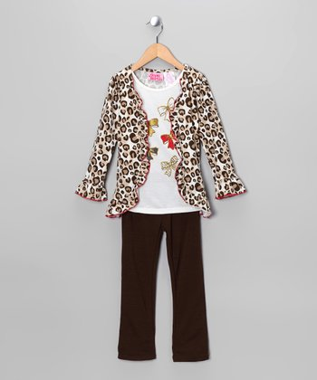 Brown & Black Cheetah Bow Cardigan Set - Girls