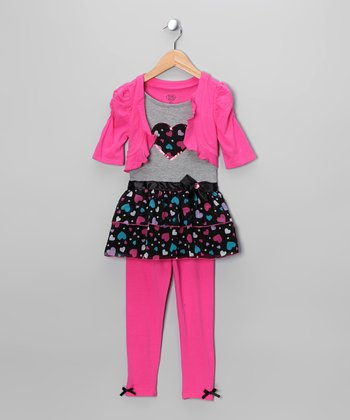 Dark Pink Heart Tunic Set - Girls