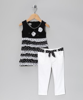 Black Polka Dot Ruffle Tunic & White Pants - Toddler
