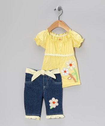 Yellow Flower Peasant Tunic & Denim Shorts - Infant & Toddler