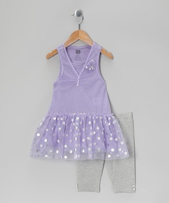 Purple Polka Dot Tunic & Gray Leggings - Infant