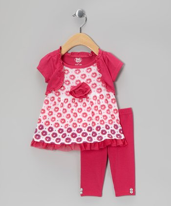 Dark Pink Rosette Layered Tunic & Leggings - Infant