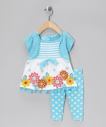 Teal Floral Ruffle Layered Tunic & Leggings - Infant