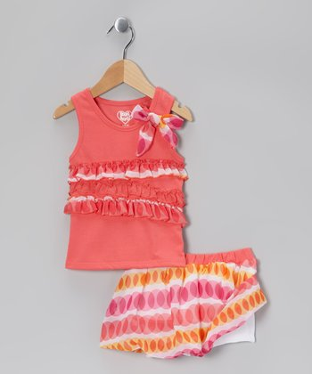 Orange Ruffle Tank & White Bubble Skirt - Infant