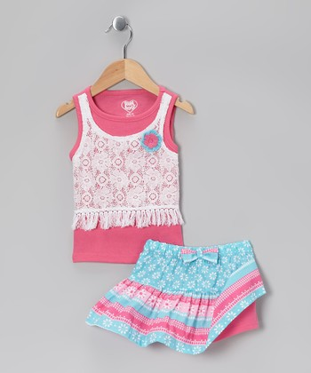 Pink Lace Layered Tank & Teal Skirt - Infant, Toddler & Girls