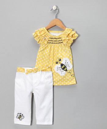Yellow Butterfly Polka Dot Tunic & Pants - Toddler