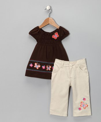 Brown Butterfly Tunic & Pants - Toddler & Girls