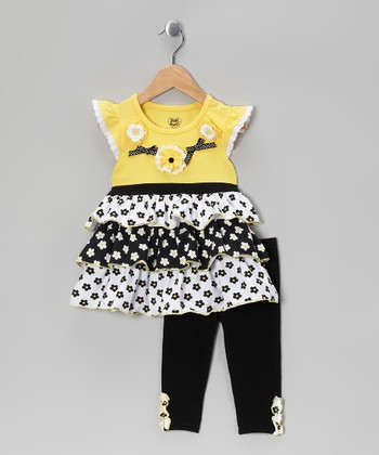 Yellow Floral Tiered Tunic & Black Leggings - Toddler