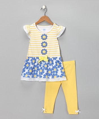 Yellow Stripe Floral Tunic & Leggings - Girls