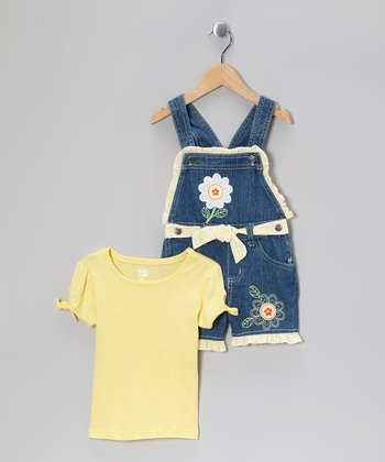 Yellow Tee & Denim Ruffle Shortalls - Toddler