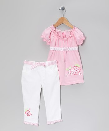 Pink Strawberry Peasant Tunic & White Pants - Girls