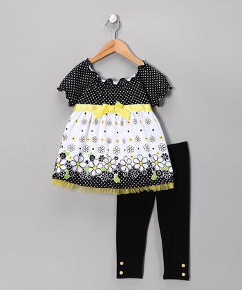 Black Polka Dot Floral Tunic & Leggings - Girls