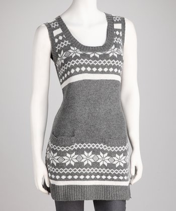 Gray Snowflake Scoop Neck Tunic