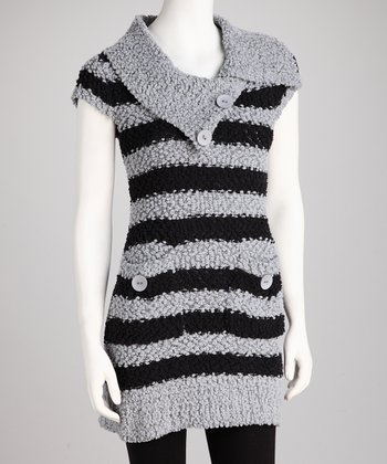 Gray Stripe Knit Tunic