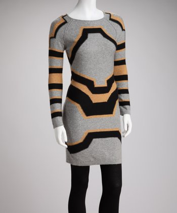 Gray & Black Geometric Sweater Dress