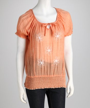 Peach Lace-Back Peasant Top