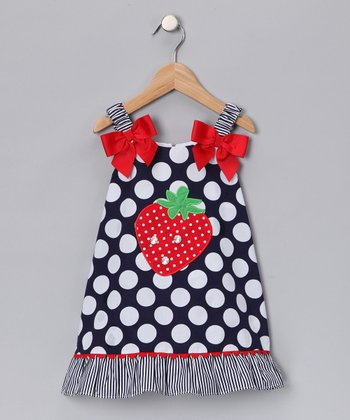 Navy Polka Dot Strawberry Jumper - Girls
