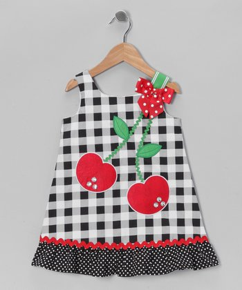 Black & White Cherry Gingham Dress - Infant, Toddler & Girls