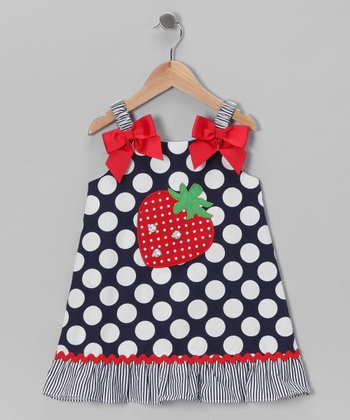 Navy & White Strawberry Polka Dot Dress - Toddler & Girls