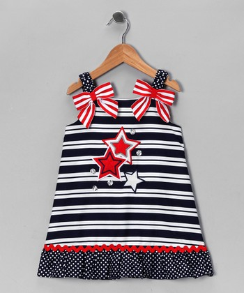 Blue & White Stars & Stripes Dress - Girls