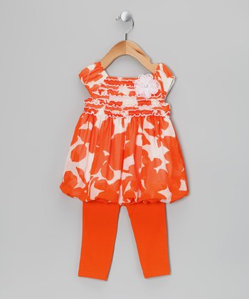 Orange Floral Dress & Leggings - Infant