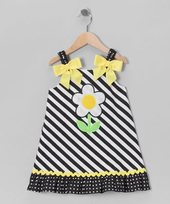 Navy Stripe Daisy Dress - Toddler