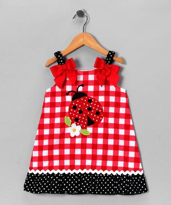 Red & White Gingham Ladybug Dress - Toddler & Girls