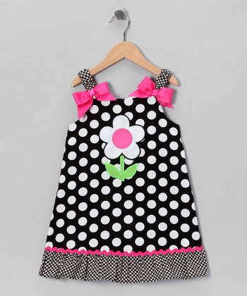 Black Daisy Polka Dot Dress - Infant, Toddler & Girls