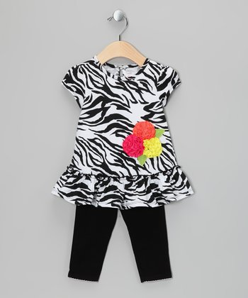 Black Zebra Dress & Leggings - Infant