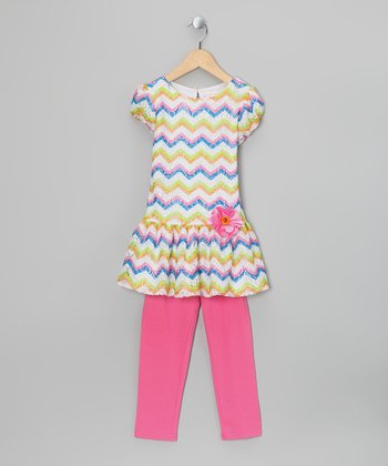Pink Chevron Dress & Leggings - Infant