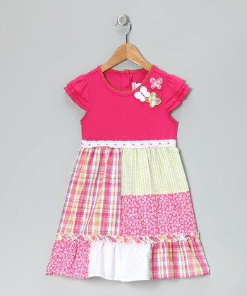 Pink Patchwork Butterfly Dress - Toddler & Girls