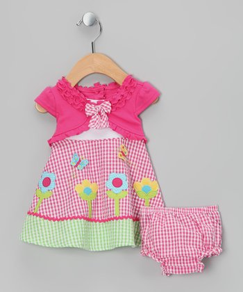Pink & Green Daisy Layered Dress - Girls