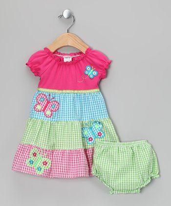 Pink & Green Butterfly Dress - Infant & Toddler