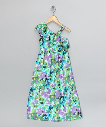 Turquoise Floral Ruffle Dress - Girls
