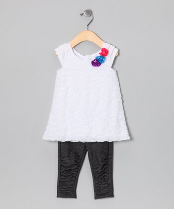 White Tiered Ruffle Tunic & Black Leggings - Infant