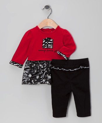 Red 'Mommy's Favorite Gift' Ruffle Tunic & Leggings - Infant