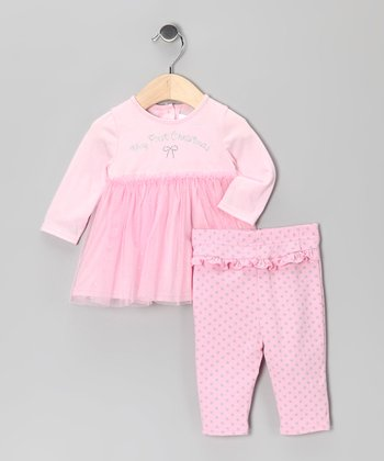 Pink 'My First Christmas' Ruffle Tunic & Leggings - Infant