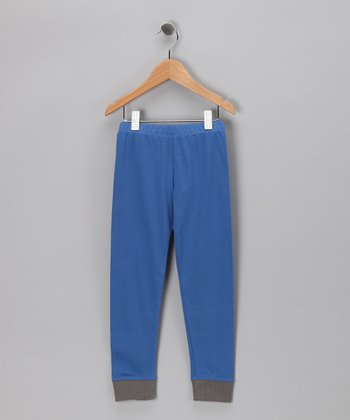 Olympic Blue & Charcoal Organic Pants - Toddler & Kids