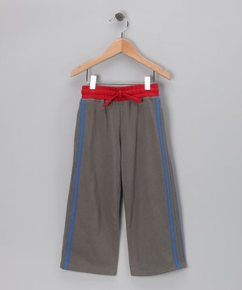 Charcoal & Red Organic Track Pants - Toddler & Kids