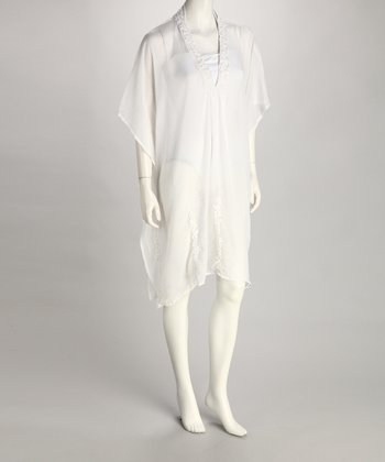 Yuka Beach White Floral Embroidered Cover-Up