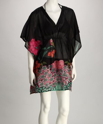 Yuka Beach Black Flower Cover-Up